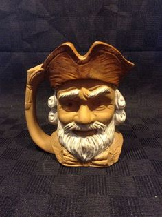 Preowned Clay Pottery Pirate Man Rough Character 3D Coffee Cup Mug Toby Jug Face