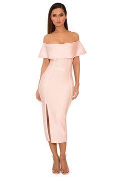 Clothing : Bandage Dresses : 'Danae' Light Pink Off the Shoulder Bandage Dress