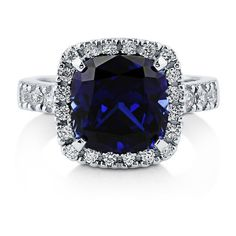 Mahak Jewelry 3ct Cushion Cut Blue Sapphire & Cz .925 Sterling Silver... ($18) ❤ liked on Polyvore featuring jewelry, rings, jewelry & watches, cushion-cut rings, cubic zirconia jewelry, sterling silver jewellery, unisex rings and sterling silver jewelry