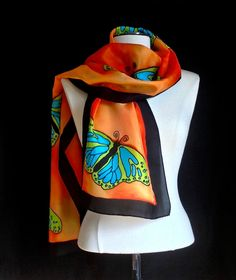Hand painted silk scarf brilliant green and by FantasticPheasant, $45.00