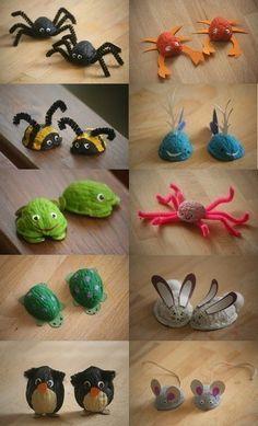 Walnut shell craft idea for kids Nature Crafts, Fun Crafts, Diy And Crafts, Arts And Crafts, Simple Crafts, Pista Shell Crafts, Walnut Shell Crafts, Easy Christmas Crafts, Christmas Crafts For Kids