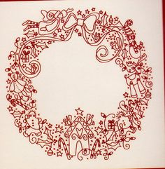 Free Printable christmas redwork Patterns | Christmas Treasures Wreath - redwork stitchery kit from Rosalie ...