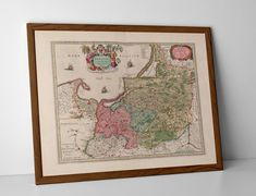 Historical Map of East Prussia, originally created by Willem Janszoon Blaeu, now available as a 'museum quality' wall hanging print. Danzig, Prussia, Historical Maps, Antique Maps, Travel Posters, Genealogy, Poland, Vintage World Maps, Museum