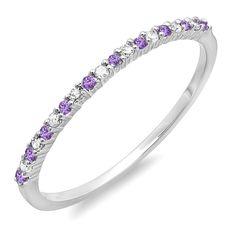 14K White Gold Round Amethyst & White Diamond Ladies Anniversary Wedding Band Ring (Size 6)