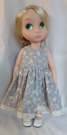 Disney Animator Doll Clothes Grey Dress with pink by MellyMakes1