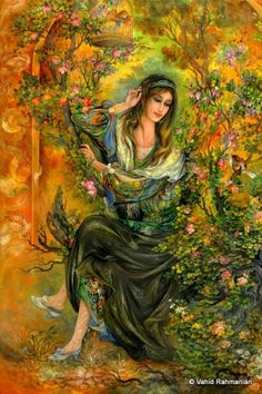 Mahmoud Farshchian Persian Mahmud Farciyn born January 24 1930 is a master of Persian painting and miniatures He was born in the city Middle Eastern Art, Mughal Paintings, Art Optical, Art Asiatique, Goddess Art, Iranian Art, National Art, Fantastic Art, Female Art