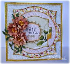 #cheeryld  Hello there!  It's Karen sharing a shabby & thoughtful card with you today!  Dies used:  XL19 Pierced Stacker #1 Circle Classic Silver Stackers B338 Black Eyed Susan  B571 Leafy Flourish DL298 Royal Scandinavian Doily  www.CheeryLynnDesigns.com
