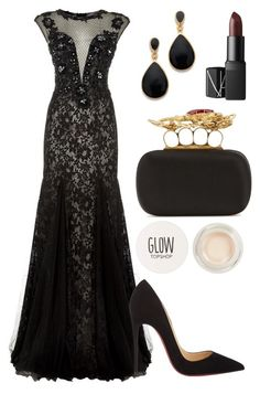 """Night Party"" by mari-marishka ❤ liked on Polyvore featuring Jovani, Kenneth Jay Lane, NARS Cosmetics, Alexander McQueen, Christian Louboutin and Topshop"