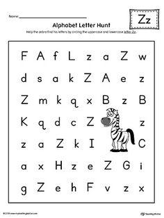 Alphabet Letter Hunt Z Worksheet Color