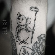 Something a bit different for me Bernard from the Rescuers! Around some older healed pieces from me on a forearm. Lots of fun this little guy #dotwork #dotworktattoo #blacktattoos #blackwork #disney #disneytattoo