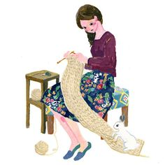 day 134. knitting girl and digging rabbit Wait a minute, bunny! うさぎさんそこはやめて〜 * #30minutesketch #365daysofpaint #art_we_inspire #illustagram #illustration #art #artwork #acrylicpainting #acrylicpaint #instadraw #drawing #painting #イラスト #デザイン #design #рисунок  #ярисую#иллюстрация#kunst#bunny#autumn#rabbit#flower#knit#girl#woman#scarf