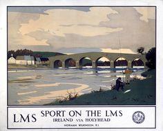 IRELAND 'Sport on the LMS - Ireland via Holyhead', LMS poster, c 1930s.