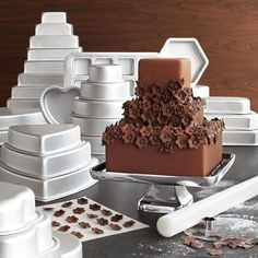 "Tiered Cake Pans - make multi-layered cakes easier to achieve.  The sizes are perfectly graduated to be proportionate & balanced.  | available from Wanelo.com (Wanelo stands for ""Want, Need, Love"" for those unfamiliar:  my teenaged daughter loves it!)"