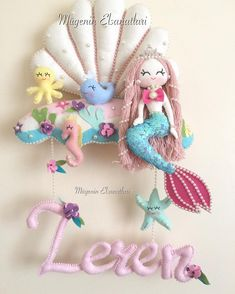 Mermaid Crafts, Mermaid Diy, Baby Crafts, Diy And Crafts, Felt Doll House, Baby Wall Decor, Felt Angel, Underwater Theme, Felt Wreath