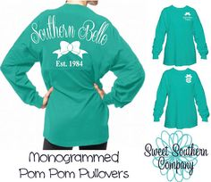 Southern Belle Monogrammed Pom Pom Spirit Jersey in Mint and White by SweetSouthernCompany on Etsy