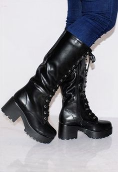 Black Chunky Cleated Platforms Lace Ups Knee High Boots