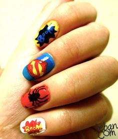 Super Hero Nails - @Meganator Reynolds I know you are all over this!