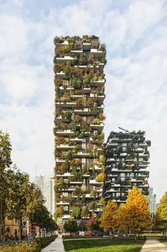 """The towers stand 80 and 112 meters high. In addition to regular monitoring, once a year, a crew of arborists/climbers dubbed the """"Flying Gardeners"""" descend from the roof of the buildings to assess plant health. #dwell #moderndesign #modernarchitecture"""