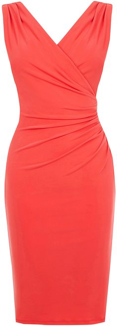 Womens coral red rouched v neck dress from Oasis - £52 at ClothingByColour.com