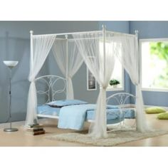 BUTTERFLY WHITE 4 POSTER BED