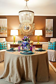 Interior designer Lisa Mende created the stunning tablescape in her Charlotte, North Carolina dining room, captured here by photographer Lisa Turnage.