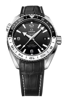 The @omegawatches Seamaster Planet Ocean 43.50mm GMT - this stainless steel watch contains Master Chronometer Caliber 8906 and is shown above with black leather strap with rubber lining.  More @ http://www.watchtime.com/wristwatch-industry-news/watches/omega-seamaster-planet-ocean-now-equipped-with-master-chronometer-calibers/ #omega #watchtime #menswatches #watchnerd