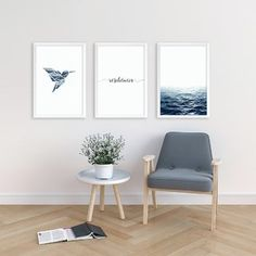 Kit de quadros Resiliencia Blue II Minimalist Home, Wall Colors, Decoration, Dining Bench, Glamour Decor, New Homes, Sweet Home, Bedroom Decor, Wall Art