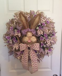 Easter Wreath Bunny Face Wreath Easter Decor Easter by RoesWreaths