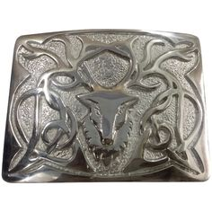 Real Leather Kilt Belt /& Buckle Set With Chrome Buckle /& Gold Stag Head Badge