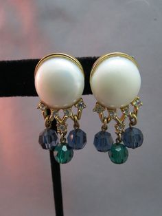 Crown Trifari Earrings Gold Plated Clip On Blue Green Crystals Large Faux Pearl  #Trifari #DropDangle SOLD!