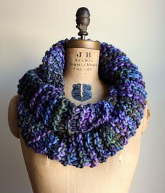 This extra large chunky knit cowl is knit with one of the most luxurious yarns I have ever had the pleasure to knit with. The texture is *so* soft and