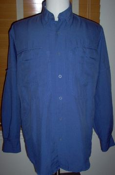 Royal Robins Men's Slate Blue Long Sleeve Hiking Shirt (M) #Grays #ButtonFront