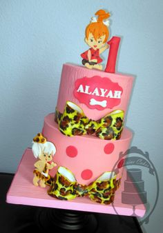 Pebbles and Bamm-Bamm! Flintstones theme birthday cake for little girl!