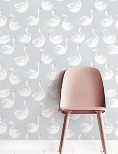 Verwisselbare behang Self-adhesive behang Swan patroon door Jumanjii