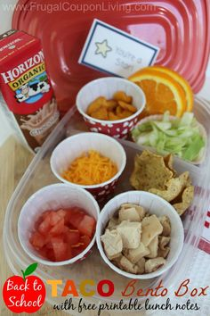 Taco Bento Box for Back to School and FREE Printable Lunchbox Notes #backtoschool #lunch #lunchbox #freebies #bentobox #bento http://www.frugalcouponliving.com/2014/08/12/taco-bento-box-lunch/