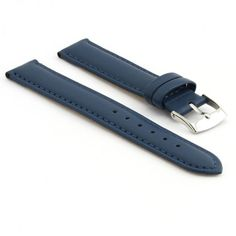 StrapsCo Genuine Matte Blue Leather Watch Strap size 22mm. Width: 22mm (watch end) / 22mm (buckle end) | Total Length: 189mm (excl. buckle). Material: Genuine Leather. Buckle: Polished Stainless Steel Tang Buckle. Also available in: black, dark brown, light brown, brown, red, burgundy, yellow, orange, green, pink, dark pink, white, grey + beige!. FREE Set of Matching Spring Bars Included.