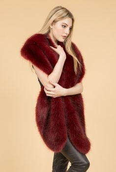 Red Faux Fur Wrap | Jayley Oversized Wrap