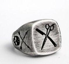 .925 oxidized sterling silver Barber skull ring