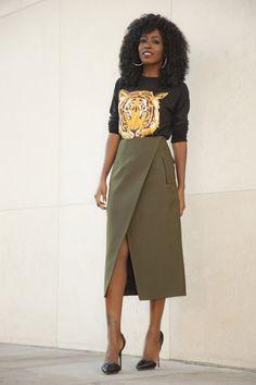 8169f0442 StylePantry - Tiger Print Crewneck + Faux Wrap Midi Skirt Corporate Fashion,  Style Pantry,