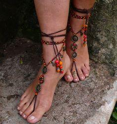 MANDALA de fuego sandalias descalzos pie joyería por PanoParaTanto