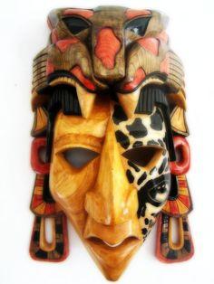 Mayan Jaguar Warrior Mask Sculpture in Cedar One by FantasticAztec, $539.00