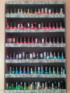 DIY Foam Board and Duct Tape Nailpolish Rack by Abby's Crafty Mom (though mine will probably be in cardboard. In the process of making this... Anyone have a box cutter??