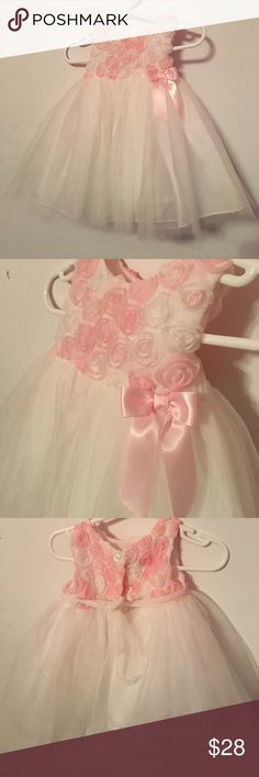 Baby infant wedding ceremony white floral dress Size fit 3-6 infant baby girls. Good condition. manmellate Dresses Formal
