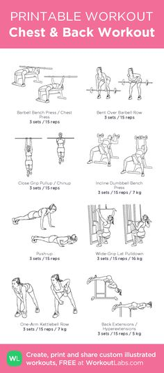Chest & Back Workout– my custom exercise plan created at WorkoutLabs.com • Click through to download as a printable workout PDF #customworkout