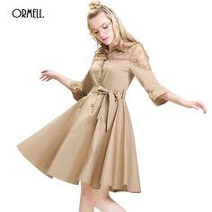 ORMELL Elegant Hollow Out Lace Dress Summer Women Fashion Black Khaki Olive Girl Dresses Sexy Office Lady Sundress Vestidos #Affiliate