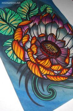 hand-painted print, dark purple lotus tattoo art: tattoo flash painting, orange, purple and grey flower by anjimarth for $30.00