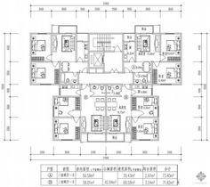 板式高层一梯四户户型图(73/73/72/72) House Plans, House Plans Design, House Floor Plans, Home Plans, Home Floor Plans