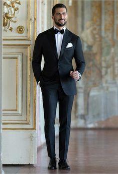 To-Look-Sharp-For-Men/ outfit hombre formal, formal men outfit, dinner suit Black Suit Wedding, Wedding Tux, Black Suit Groom, Men Wedding Suits, Wedding Ideas, Formal Men Outfit, Men Formal, Black Dinner, Dinner Suit