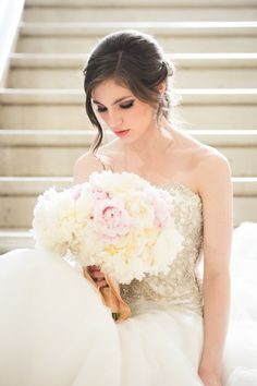 Bride with Ivory Peony Bouquet   photography by http://elizabethnord.com