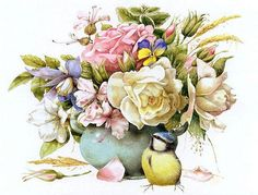 Схема для вышивки «Цветы и птица»
